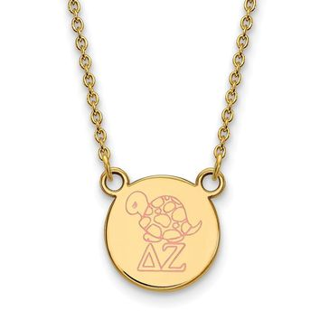 14K Plated Silver Delta Zeta Small Enamel Necklace