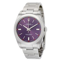 Rolex Oyster Perpetual Red Grape Dial Stainless Steel Mens Watch 114300RGSO