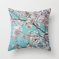 blossoms all over ~ color option teal Throw Pillow by Iris Lehnhardt