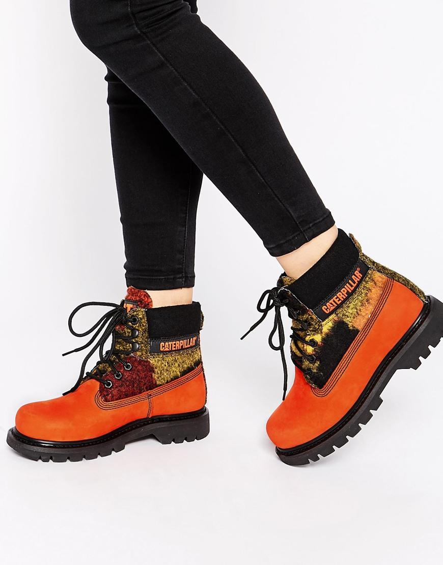 6ec0475081a Cat Footwear Colorado Orange Wool Mix Leather Ankle Boots