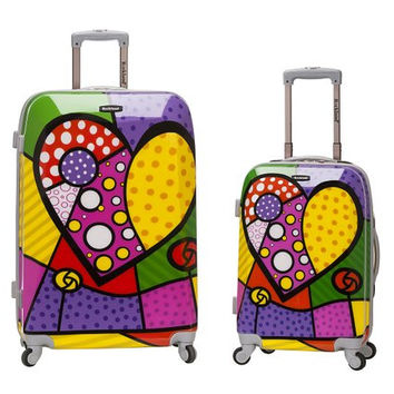 F212-HEART 2 Pc Polycarbonate/Abs Upright Luggage Set