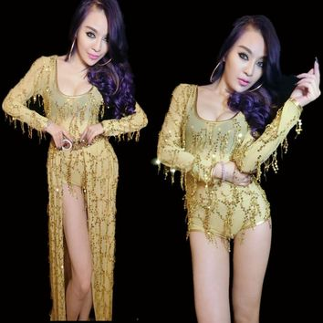 Bright Sequins Dance Wear Bodysuit And Skirt Stage Show Nightclub Ds Costumes Jazz Dance Dj Female Singer Sexy Gold Outfit