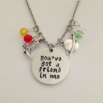 "Disney inspired Toy Story necklace ""you've got a friend in me"" Woody Buzz Lightyear hand stamped swarovski crystals charms"