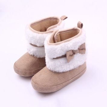 Autumn Winter Toddler Girls Warm Fall Winter Girls Cute Bow Toddler shoes Soft FurryBaby Infant Soft Furry Baby Infant Boots