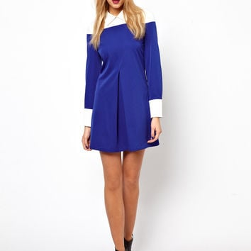 White And Blue Collar Long Sleeve Dress