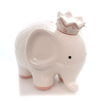 Bank WHITE W/PINK COCO ELEPHANT BANK Ceramic Crown Baby 3781Pk