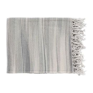 Ben and Jonah Striped Tanga Throw Blanket with Fringes (Grey)