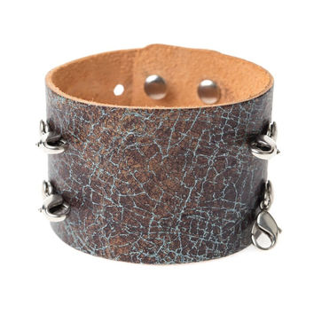 Distressed Turquoise Wide Leather Cuff - Lenny and Eva