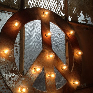Peace sign lighted metal marble rust finish light fixture