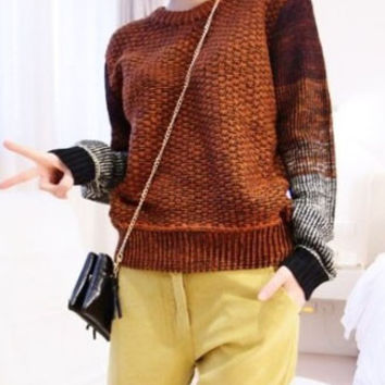 Brown Ombre Sleeved Sweater