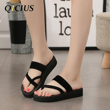 QICIUS New Solid Black Shoes Sandal Flip Flops Women Wedge Sandals Platform Beach Slippers Zapatillas Chinelo Sandalia B0040