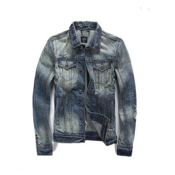 European American Fashion Style Men Jacket Frayed Vintage Denim Jackets Men Coat Street Outerwear Man Brand Clothing Jackets