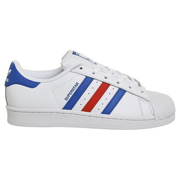 adidas superstar 1 trainers white blue red