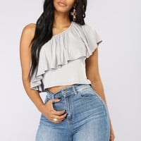 Long Summer Nights One Shoulder Top - Grey