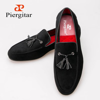 Piergitar New arrival Cotton men shoes with leather tassels Loafer SIze US 6-13 Free shipping
