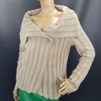 Funky Sweater Ralsey Soft Knit Cowl Collar Cappuccino Brown Size L Hip Mod