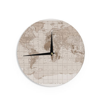 "Catherine Holcombe ""Emerald World"" Vintage Map Wall Clock"