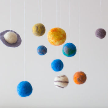 Solar System Baby Mobile - Solar System Nursery Mobile -Solar System Nursery Decor-Planets Nursery Decor -Needle Felted Mobile- Space Mobile