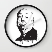 Halftone of Alfred Hitchcock Wall Clock by g-man