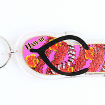 HOT VINTAGE FLIP FLOP HAWAII/ FLORAL KEYCHAIN, COLLECTABLE ITEM, 60s - 70s, USED