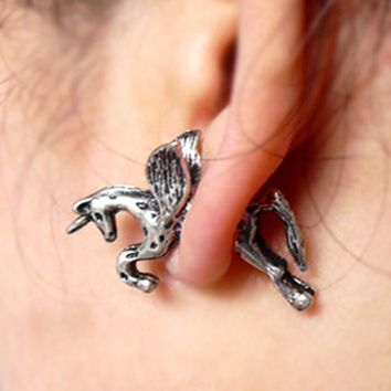 Horse Ear Stud Earrings