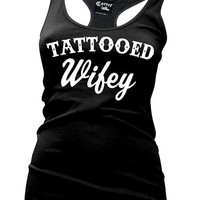 "Women's ""Tattooed Wifey"" Tank by Cartel Ink (Black)"