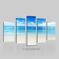 CANVAS ART  - Large Wall Art Canvas Beach-Ocean View  Print | Asymmetric Framed Large Size 5 Panel Wall Art Canvas Printing