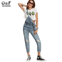 Dotfashion Ripped Stone Wash Denim Overall Jeans Women Cute Wear Vintage Sleeveless with Pockets Jumpsuits