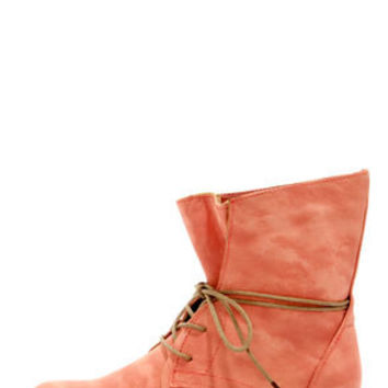 Wanted Leroy Coral Burnished Lace-Up Mid-Calf Boots