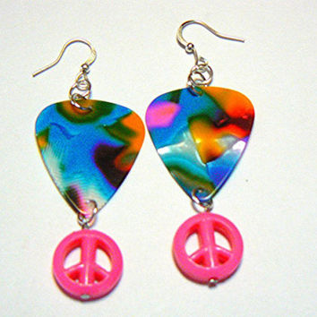 Guitar Pick and Peace Sign Charm Earrings, Tie Dyed, Handmade, Silver Plated, Jewelry
