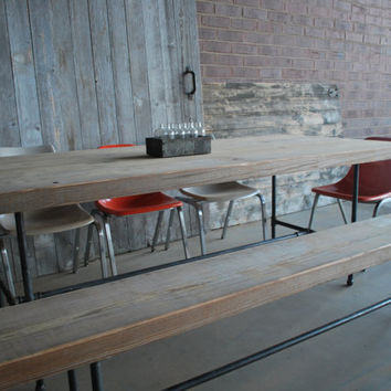 """Reclaimed wood table made to size request. Benches separate.  84"""" l x 34"""" w x 30""""  tall"""