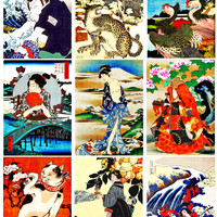 geisha girls samurai animals japanese clip art paintings digital collage sheet download graphics images 2 3/8 x 3 3/8 inch tags scrapbooking