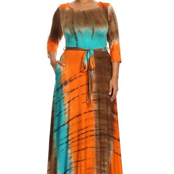 Flow and Low Tie Dye Plus Maxi Dress (Rust)