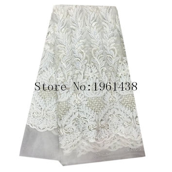Hot selling products Latest African Lace fabrics 2016 High Quality France Beaded Tulle french Lace Fabric White Wedding Dress