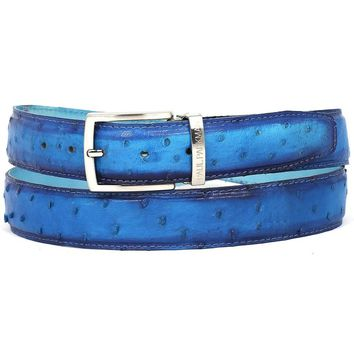Men's Genuine Ostrich Leather Belt - Ocean Blue