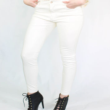 White Faux Leather Stretchy Skinny Pants