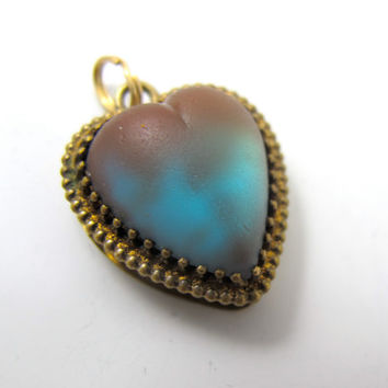 Victorian Saphiret Pendant Charm, Heart Shaped Saphiret Art Glass, Antique Jewelry