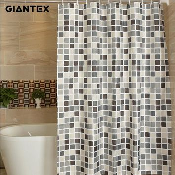 GIANTEX Plaid Polyester Bathroom Waterproof Shower Curtains With Plastic Hooks U1269