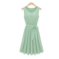 Green Vintage Bow Sleeveless Pleated Chiffon Dress