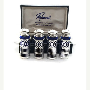 Vintage Silver Plate and Cobalt Glass Salt and Pepper Shakers, Two Pair, Raimond Distinctive Silversmiths, Filigree Design