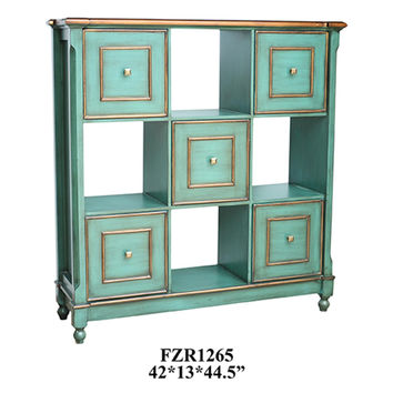 Crestview Florence Teal 5 Drawer Open Chest - CVFZR1265