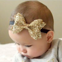 TWDVS Children Metallic Messy Big Bows baby Girls Headband Baby kids Cloth Turban Knot Hair Bands Wrap Hair Accessories