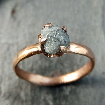 Raw Diamond Solitaire Engagement Ring Rough 14k Rose Gold Wedding Set Stacking