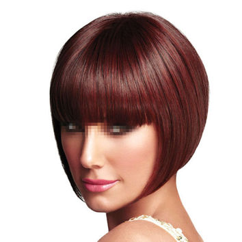 Bobo Wig Short Straight Hair Cap  wine red