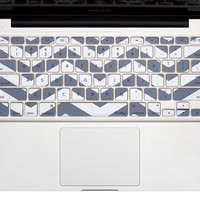 "Gray Chevron Stripe Keyboard Cover Decal Skin for Apple Macbook Macbook Pro iMac Keyboard  13"" 15"" 17"""