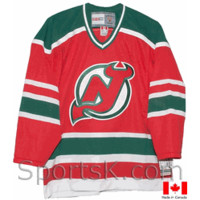 Vintage New Jersey Devils Green and Red Throwback NHL Hockey Jerseys-SportsK
