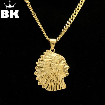 Native American Indian Chief Pendant Necklace Stainless Steel Silver Gold Color Geronimo Eagle Hawk Falcon Feather Necklace