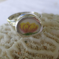 Broken China Ring Chaney Ring  Sterling Silver Ring  Yellow Flower Ring  Any Size 100% Handcrafted