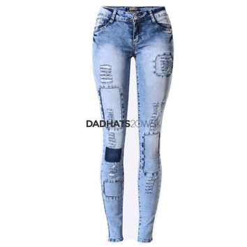 2017 Fashion Individual Bleached Patch Up Distressed Jeans For Women Hollow Out Patchwork Vintage Denim Ripped Jeans ZIH034