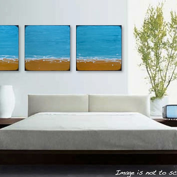 "MASSIVE 72"" Abstract Beach Triptych Painting - Original Modern Wall Art - Turquoise, Gold and White - Pacific Sands: 72 x 24 - FREE SHIPPING"
